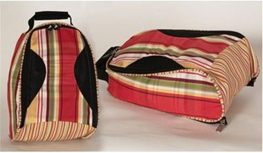 Sassy Caddy Zesty Golf Shoe Bag The Sassy Caddy golf shoe bags have mesh ventilated pockets on each side of the bag, a 280 degree zipper divider and a zipper that attaches to inside of the travel bag.