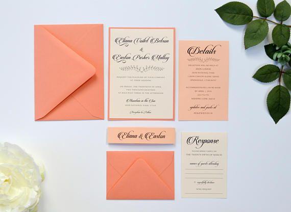 coral wedding invitations peach wedding invitations modern invitations wedding colors peach - Peach Wedding Invitations