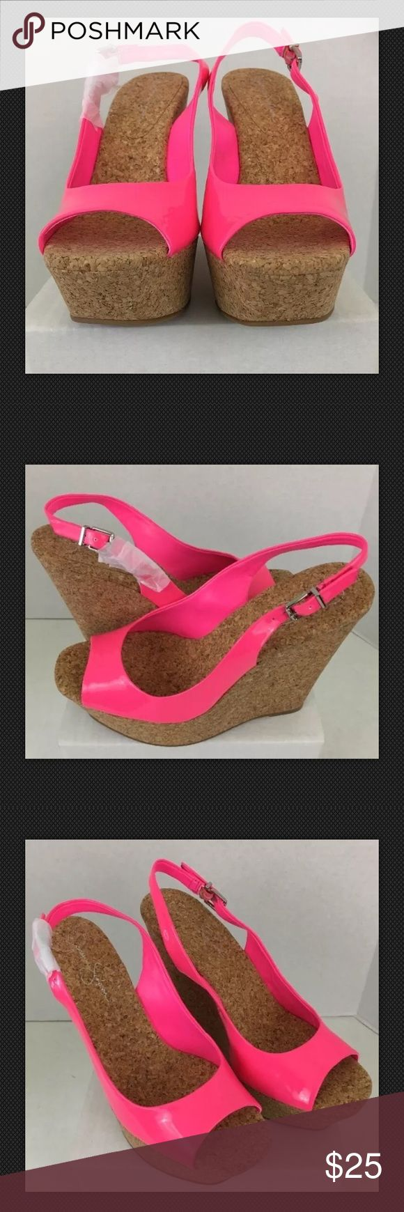 Jessica Simpson Amanda Cork Wedge Heel Slingback Jessica Simpson Amanda Cork Wedge Heel Hot Pink Slingback Peep Toe size 9.5B. Good preowned Condition minor signs of wear some scuffs. Jessica Simpson Shoes Heels