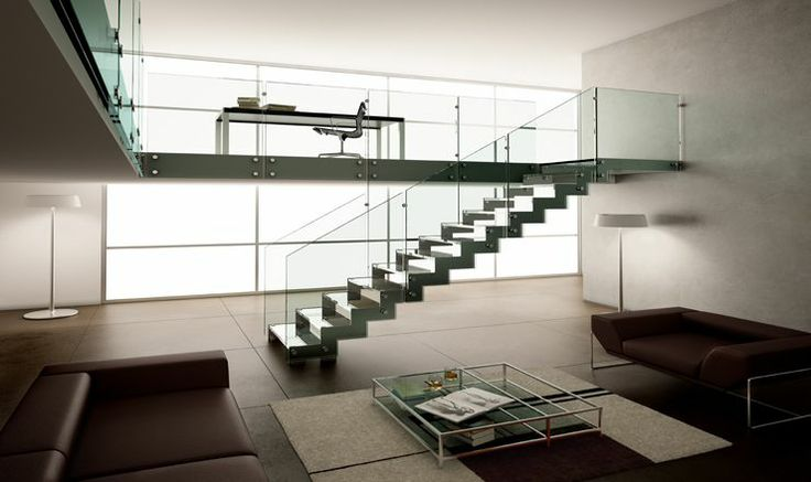 Escalera a tramos modular con baranda de cristal - Baranda de escalera ...