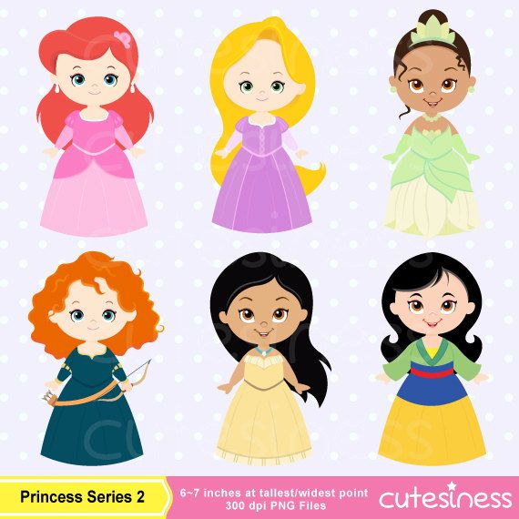 Cute Princess Digital Clipart Princess Clip Art Cute por Cutesiness