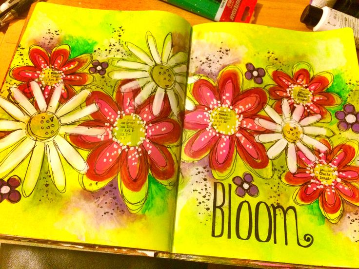 'Bloom' art journal pages