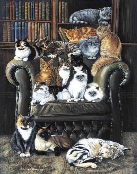 Many cats paintings. Pollyanna Pickering - A Cats Life.