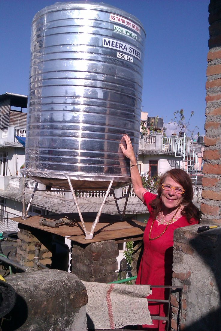 Vibeke with the new tank