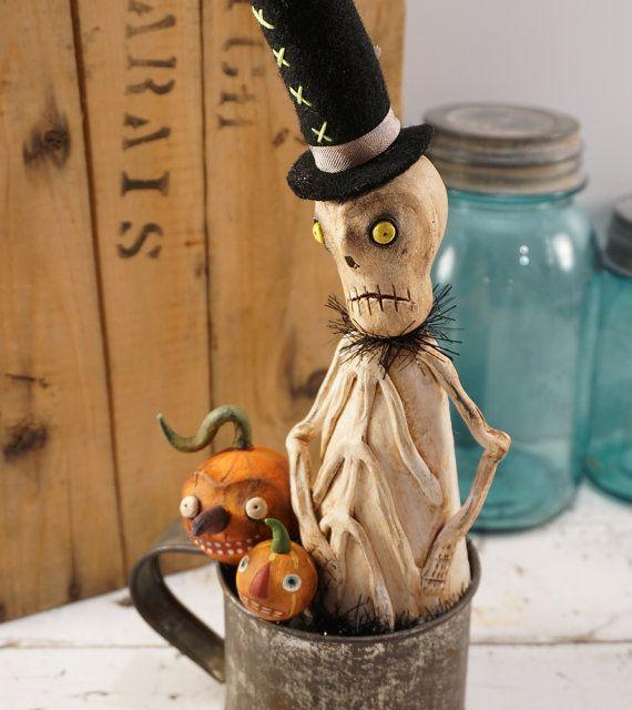 halloween decor skeleton halloween folk by catandfiddlefolk - Vintage Style Halloween Decorations