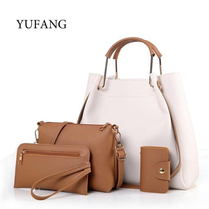 4pcs/set Women Handbag High Quality PU Leather With Casual Messenger Bag