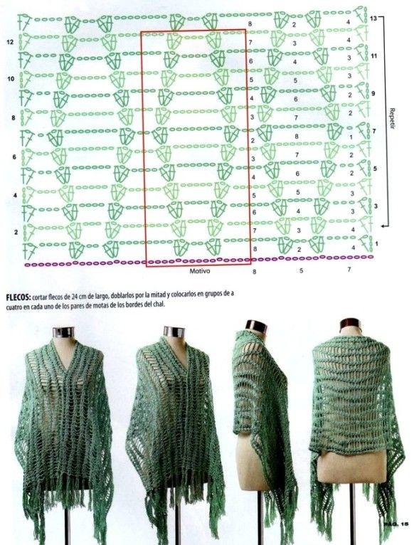 Omslagdoek, super simpel maar ook super mooi. (klik ook eens door naar de site waar deze omslagdoek opstaat. Daar zijn echt prachtige haakpatronen te vinden. Je moet wel kunnen patroonlezen.