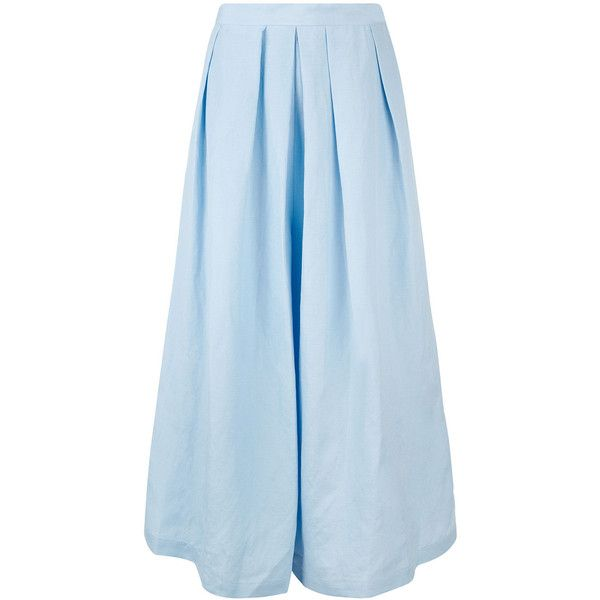 Rachel Comey Light Blue Wayward Culottes (1.770 BRL) ❤ liked on Polyvore featuring pants, capris, pleated pants, light blue pants, flare leg pants, blue pants and flared leg pants