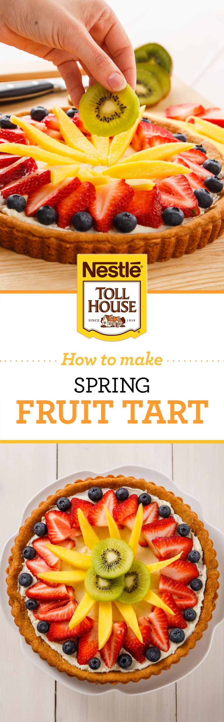With 5 simple ingredients, you'll have a delicious Spring Fruit Tart in no time! Toll House Refrigerated Sugar Cookie Dough as the crust, cream cheese, sugar, vanilla, and fresh fruit make a tasty Spring time dessert. This dish will is beautiful and tastes great too! Bake this for your next party.