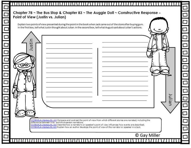 Free Printable Sample Question from Wonder by R. J. Wonder Book Unit