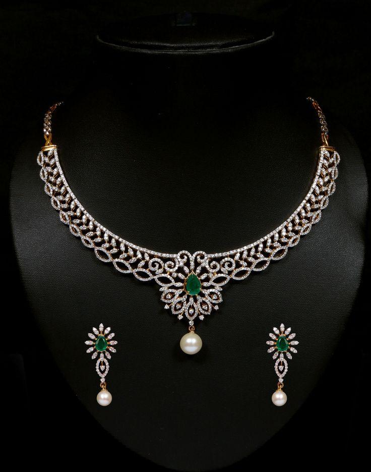 Diamond and emerald necklace set. Vummidi Bangaru Jewellers
