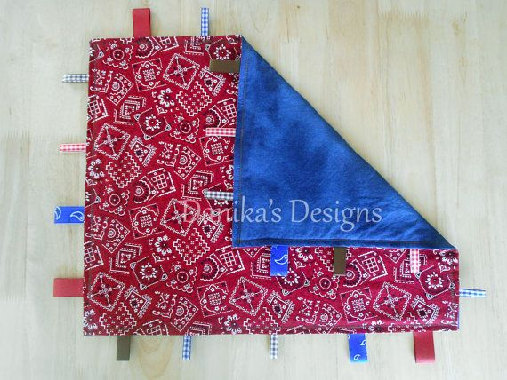 Cowboy Bandana Red and Blue Tag Blanket by DanikasDesigns on Etsy, $12.00