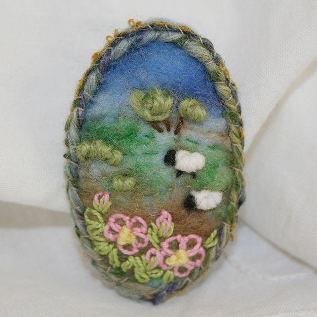 Embroidered Felted Spring Blossom Brooch - Hillside and Sheep £13.00 #folksyfriday