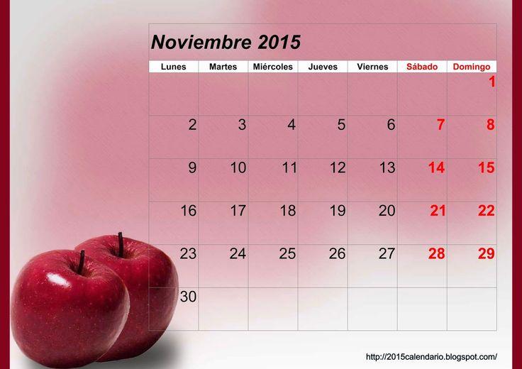 Calendario Noviembre 2015 Para Imprimir, Calendario 2015 para imprimir, Descargar plantilla calendario 2015