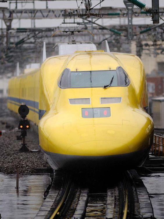 Trem bala  Dr. Yellow - para verificar os trilhos de Shinkansen - Japão