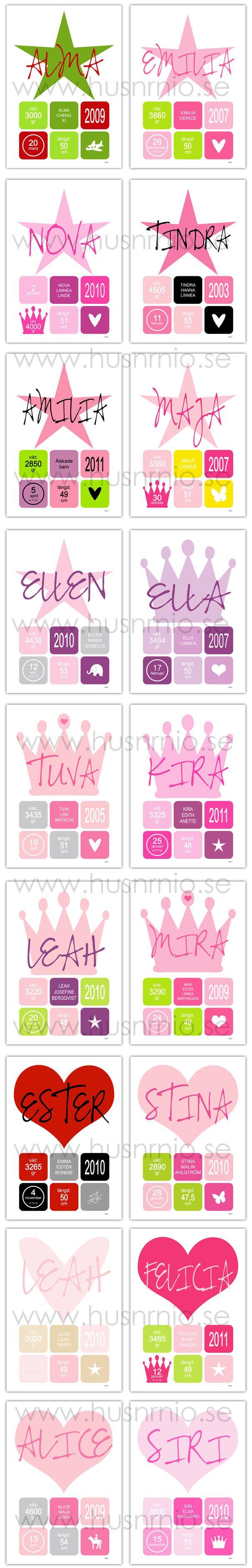 Färginspiration Namn/Doptavlor till tjejer | HUSnrNIO