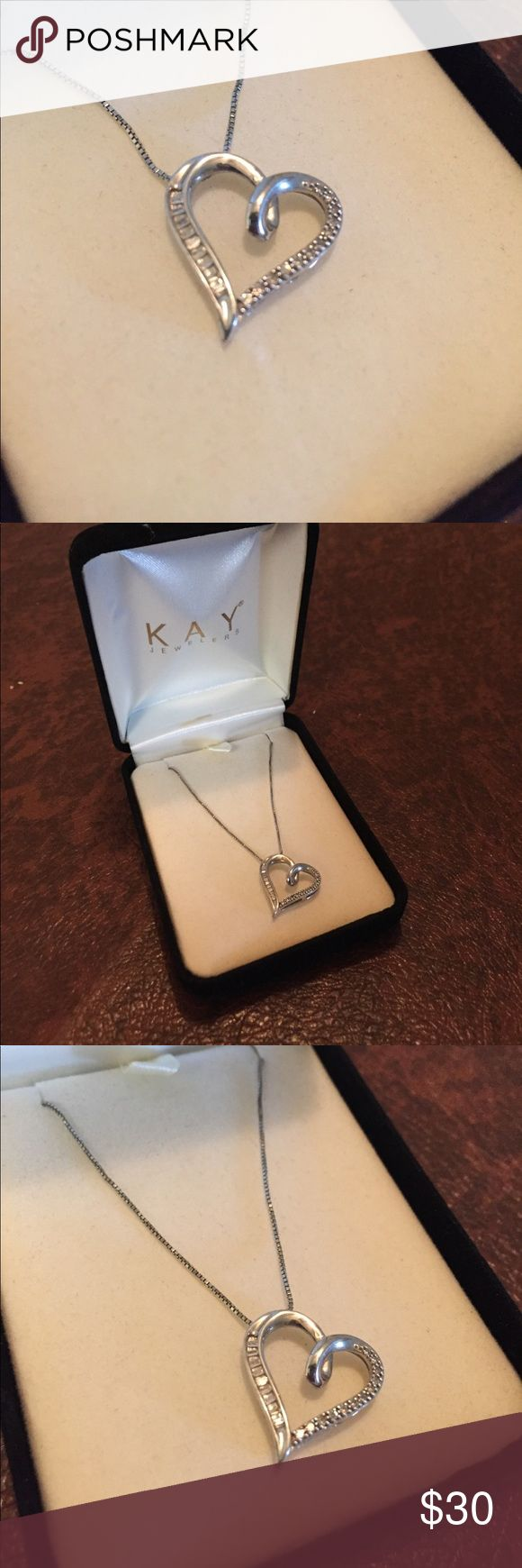 Diamond Heart Necklace 1/10 Carat, Sterling Silver This necklace has only been worn a handful of times, beautiful condition. All specifics are listed from the Kay website in the pictures. Kay Jewelers Jewelry Necklaces