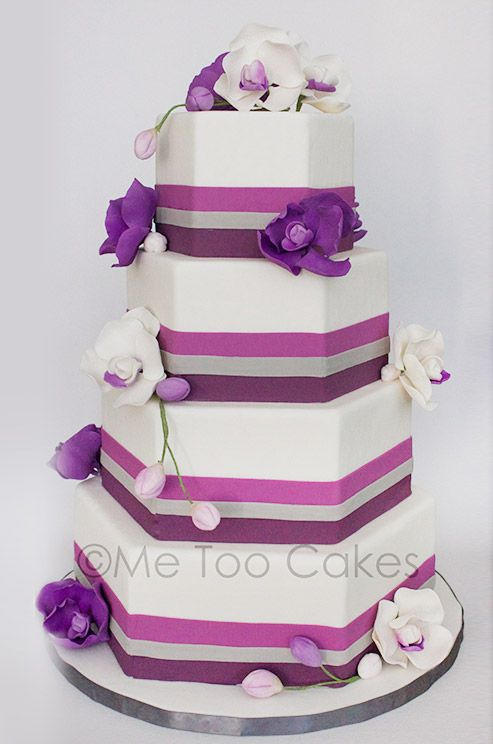 Purple wedding cake by Me Too Cakes