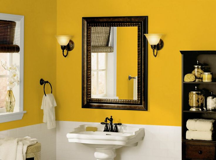 Small Yellow Bathroom Ideas Part - 27: Light Yellow Bathroom(or Any Room) Paint Color Schemes Picture-neutral But  Cheerful
