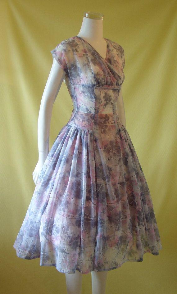 1950s Summer Dress / 50s Day Dress / Novelty by HepCatVintageUK