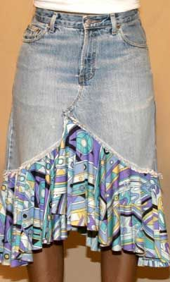 Curved Ruffled Denim Skirt