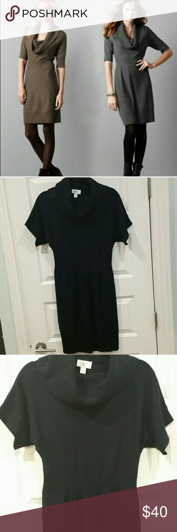 NWOT Navy blue Loft cowl neck sweater dress Loft sweater dress with a cowl neck, short sleeves and a cinched waist. So cute with tights and a belt. LOFT Dresses Mini