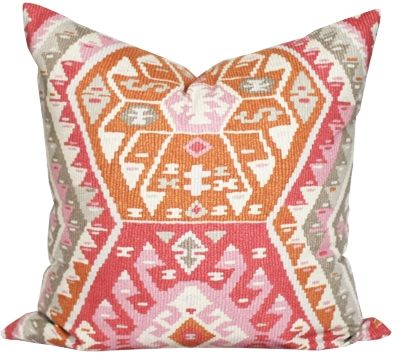 Kilim fabric pillow in pink and orange with grey. Available at www.tonicliving.com