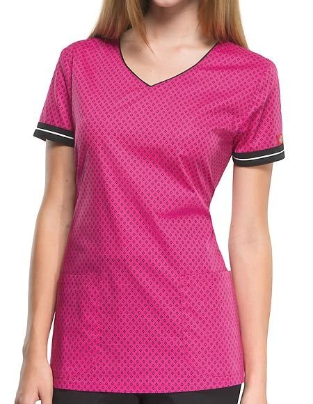 "Style Code: (DI-85800DN) A Junior fit V-neck top that features front neck piping, contrast sleeve bands, patch pockets, back darts and side vents. Center back length 26""."