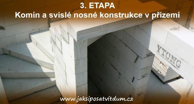 3. ETAPA   KOMÍN A SVISLÉ NOSNÉ KONSTRUKCE V PŘÍZEMÍ   Zdění vnitřního schodiště