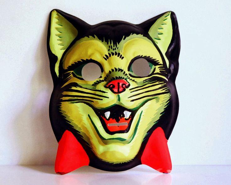 Vintage Halloween Mask 1950s Cat Children's Fluorescent Costume Plastic. $14.00, via Etsy.