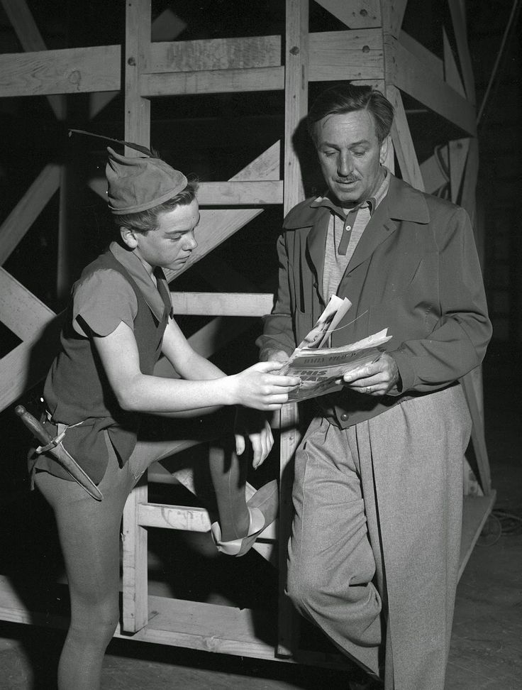 Nice publicity photo of Walt Disney and young actor Bobby Driscoll on the stage set, where live action footage was filmed to aid the animators in their work
