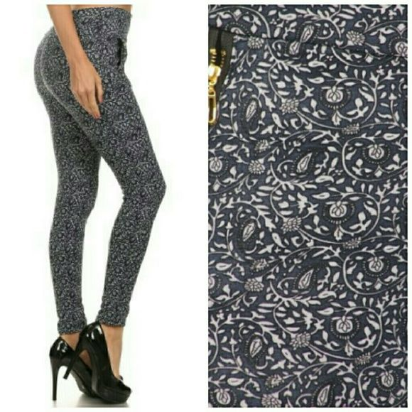 Paisley print treggings pants STYLISH AND CHIC PAISLEY PRINT LEGGINGS, LIGHT, SUPER SOFT, STRETCHY, COLOR AS SHOWN COMBO OF PINK, BLACK & WHITE 92% POLYESTER/ 8% SPANDEX Pants Leggings