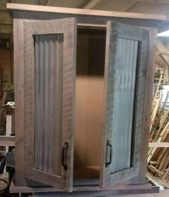 Cabinet Made From Reclaimed Pine Barn Wood And Metal Made To Order Barn Siding Over The Toilet Cabinet Corrugated Metal