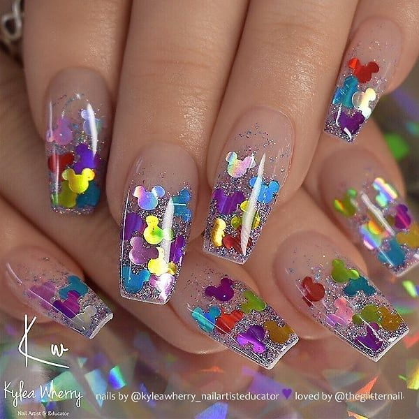 Glitter On Clear Coffin Nails Nail Artist Kyleawherry Nailartisteducator Follow Her For More