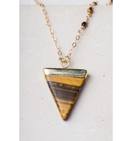 14k gold plated tigers eye triangle pendant adjustable necklace. Hypoallergenic. Lead and nickel free.