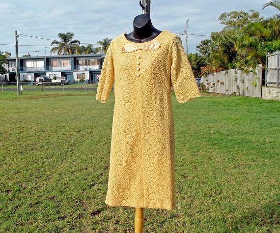Vintage 60s Gold Lace Shift Dress Size M by VintageSquirrels, $49.95(AUD)  #vintage#vintagefashion#vintagedress#vintageclothing#etsy#golddress#1960s#60sdress#mod#moddress#gown#eveningdress#jackieOdress#madmen#bohoformal