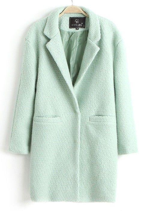 Mint Green Single Button Notch Lapel Wool Coat