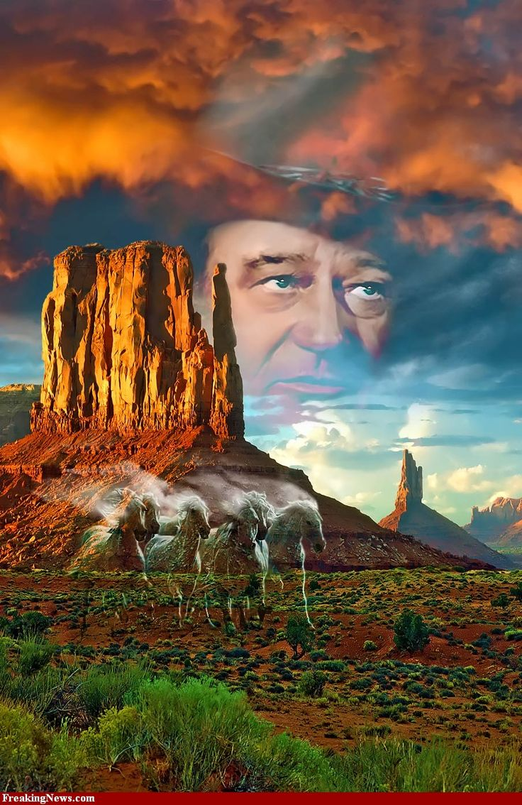 John Wayne. I love these images of the west with the Duke watching over them.