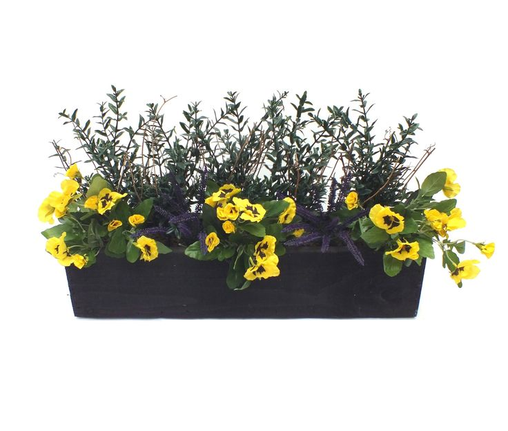 Artificial Heather and Pansy Window Box