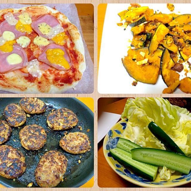 連休も終わってしまいます…  ピザにハンバーグ、カボチャのガーリック炒め、生野菜。  明日からまた頑張ろう - 84件のもぐもぐ - ゴールデンウィーク…終了❗️ by furyu