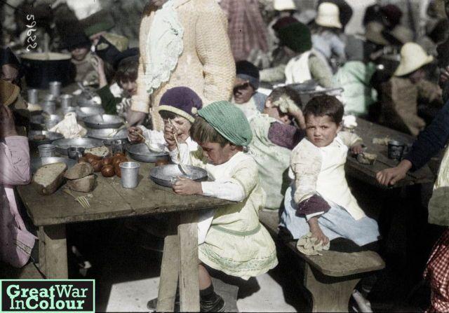 Serbian children orphaned by the war, circa 1916.