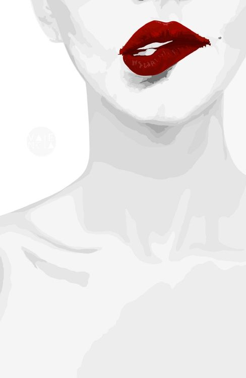 Red Lip Fashion Ilustration