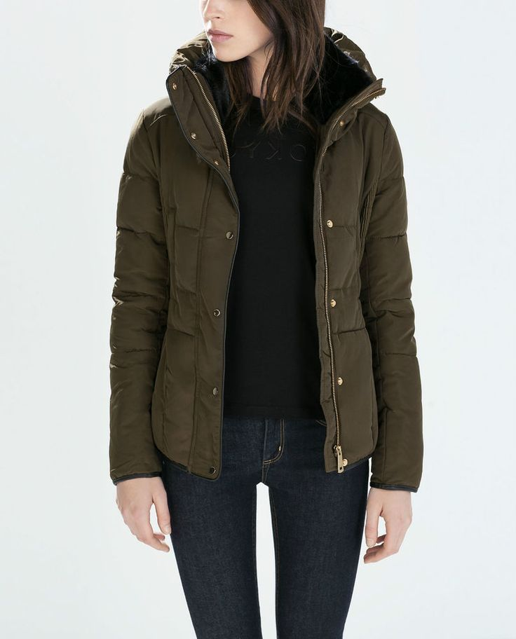 ZARA Woman BNWT Khaki Fitted Short Anorak Puffer Jacket XS ...
