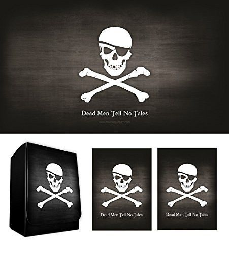 PIRATE FLAG - Skull and Crossbones - Jolly Roger Playmat + DECK BOX + 100 Matching GLOSS Finish Sleeves (fits Magic / MTG, Pokemon Cards) by MAX PRO
