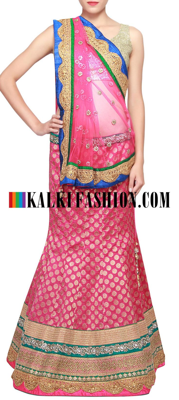 Get this beautiful lehenga here: http://www.kalkifashion.com/pink-brocade-lehenga-embellished-in-gotta-patti-lace-only-on-kalki.html Free shipping worldwide.