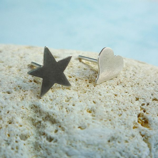 Silver Studs – Asymmetric stud silver earrings - star and heart – a unique product by Carla-Amaro on DaWanda