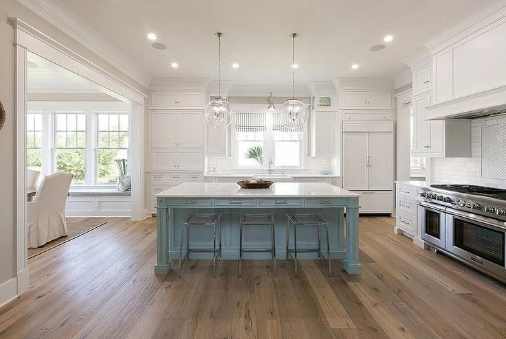 Gorgeous blue and white kitchen boasts two regina andrew for Duck egg blue kitchen island
