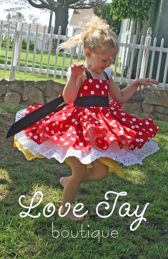 Girls dress Minnie Mouse boutique hand made 12 by LoveTayBoutique, $75.00