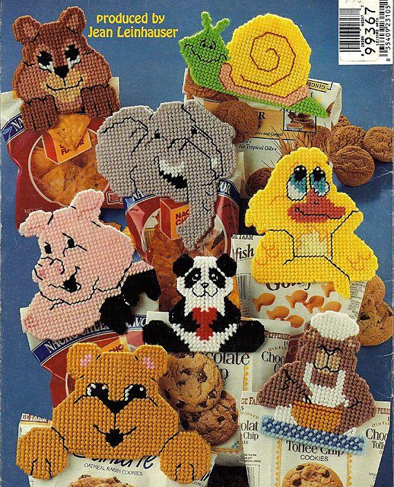 Snack Bag Clips  Plastic Canvas Pattern American School of Needlework 3105. $6.00, via Etsy.