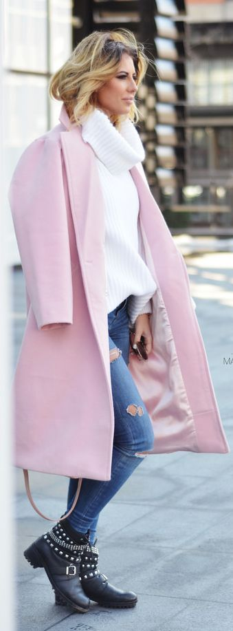 White Loose Cowl Neck Sweater,pink coat